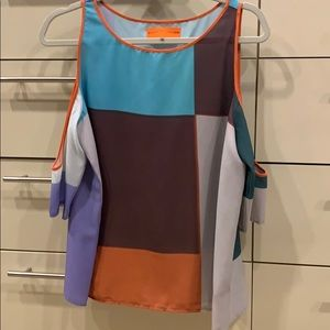 Clover Canyon colorblock cut out top blouse